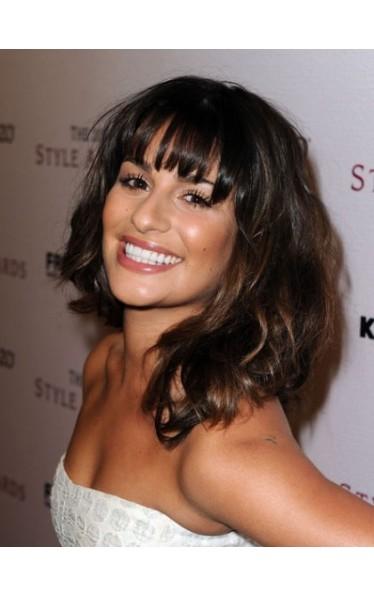 Lea Michele Frisur Shoulder Length Kappenlos Perücke