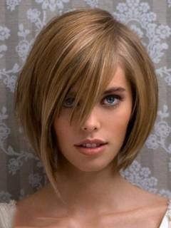 Rund Asymmetrie Lace Front Haar Perücke