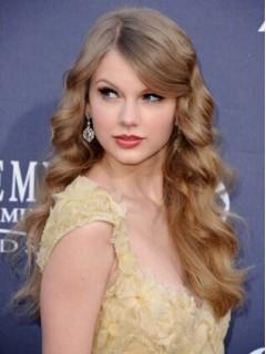 Taylor Swift Lang Spitzefront Blond Welling Remy Echthaar Perücken