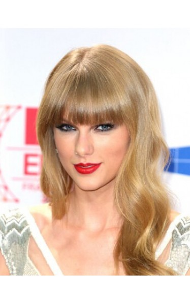 Taylor Swift Lang Kappenlos Welling Synthetik Perücken