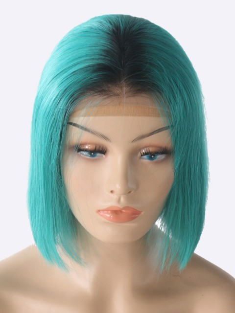 180% Dichte blau kurze 13 * 6 Inch Spitzenfront Echthaar Perücke mit Babyhaar