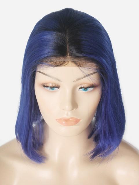 180% Royal Blau Bob 13 * 6 Inch Spitze Echthaar Perücken
