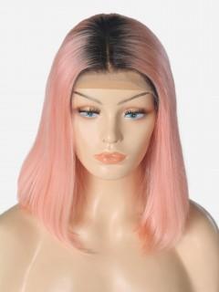 180% 1B/rosa Kurze bunte Bob 13*6 Inch Spitzen Echthaar Perücke